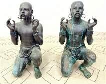 Pair Large Bronze Garden Statue Figures Sculptures. Kne
