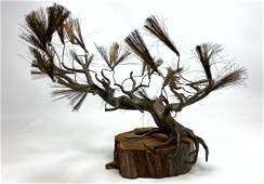 Brutalist Modern Mixed Metal Tree Sculpture Mounted on