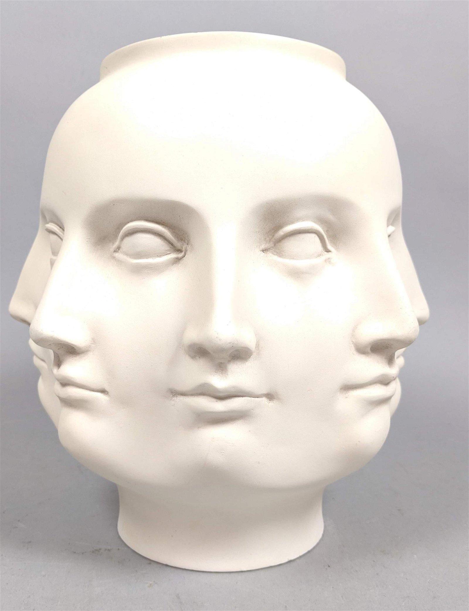 White Fornasetti Adler Style Perpetual Head Face Vase