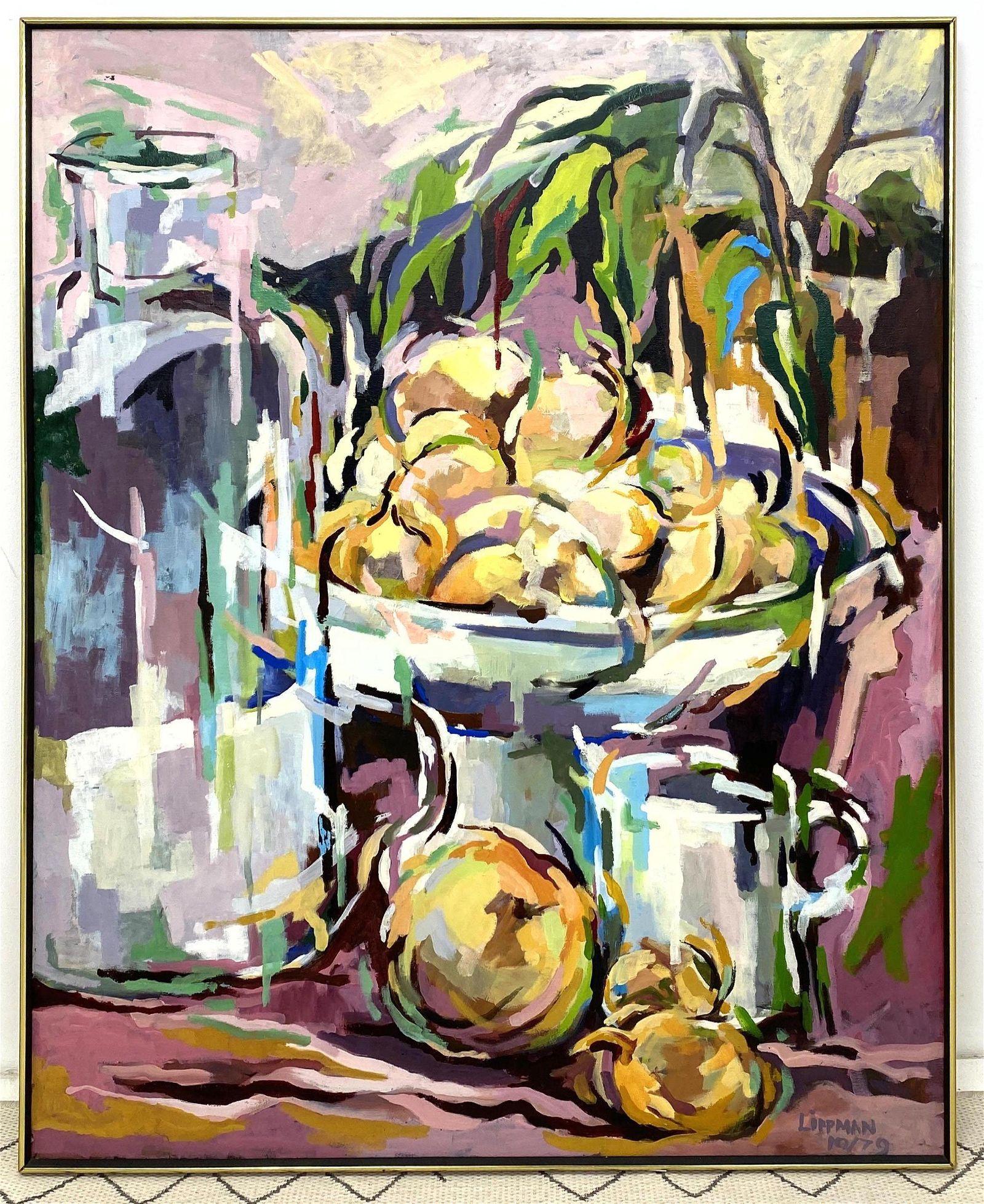 Large LEE LIPPMAN Oil Painting on Canvas.  Modernist St