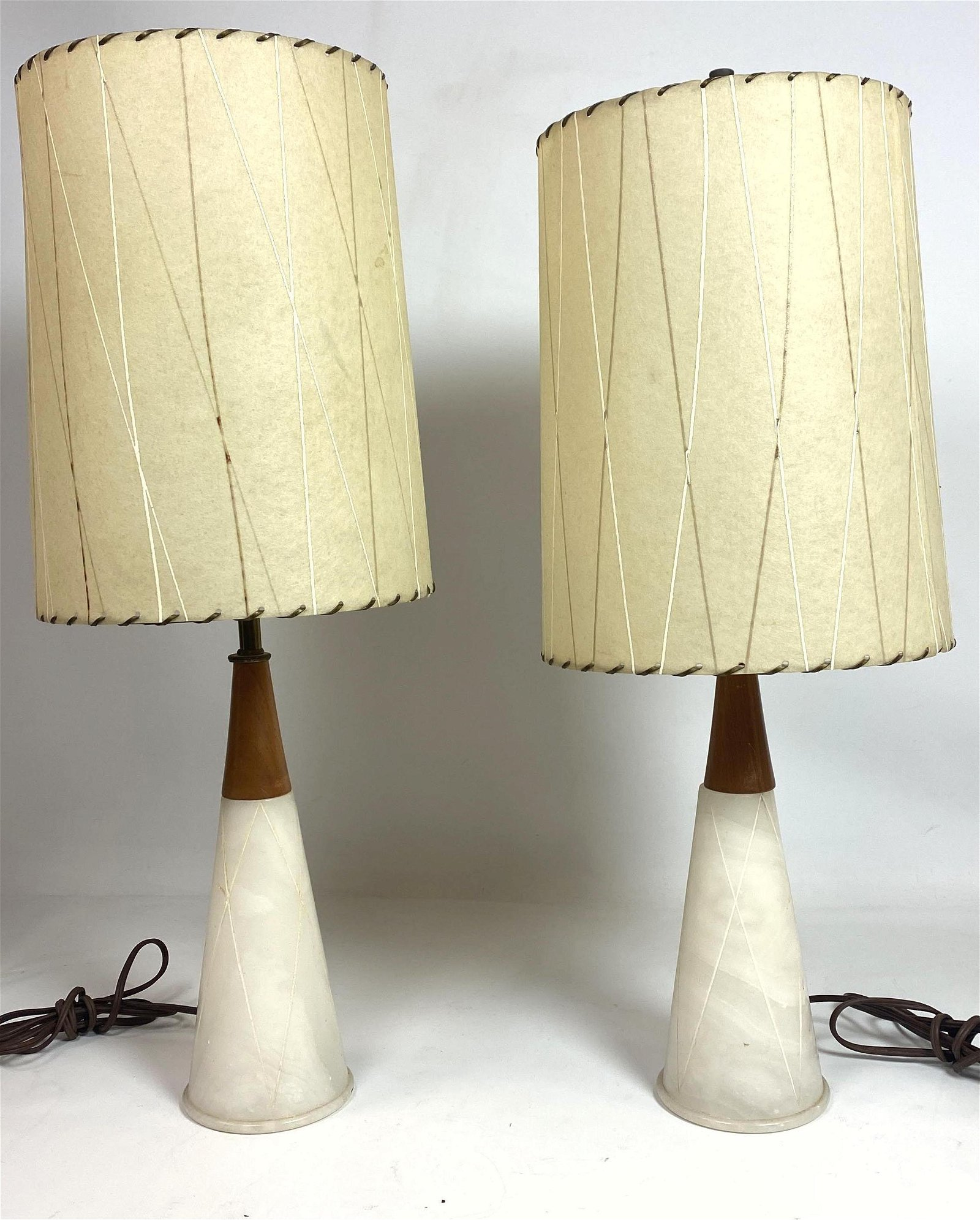 Image of: For Auction Pair Mid Century Modern Table Lamps Marble An Walnut 0215 On Jun 23 2020 Uniques Antiques Inc In Pa