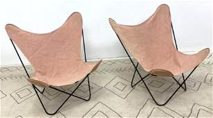 Pair Knoll Hardoy Butterfly Chairs. Iron and canvas.