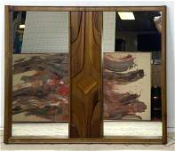 Large Modernist Walnut Wall Mirror. Carved center panel