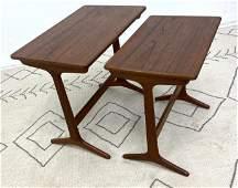 Danish Modern Teak Nesting Tables. Splayed legs.