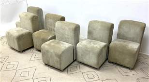 Set 6 PAUL EVANS INC Suede Dining Chairs. Suede and Chr