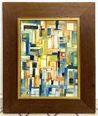 ANANSE Colorful Abstract Oil Painting on Panel. Geometr