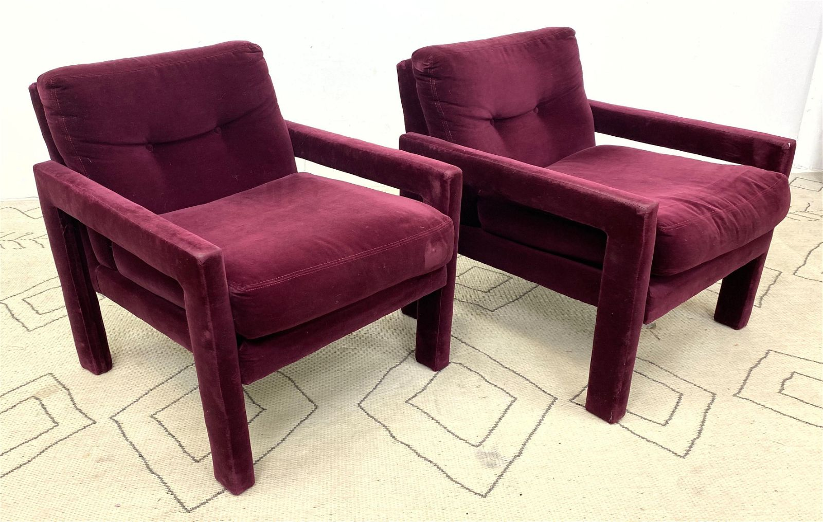 Pair DIRECTIONAL Baughman Style Lounge Chairs with Open