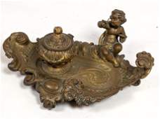 Baroque Brass Fancy Inkwell and Stand. Single lidded in