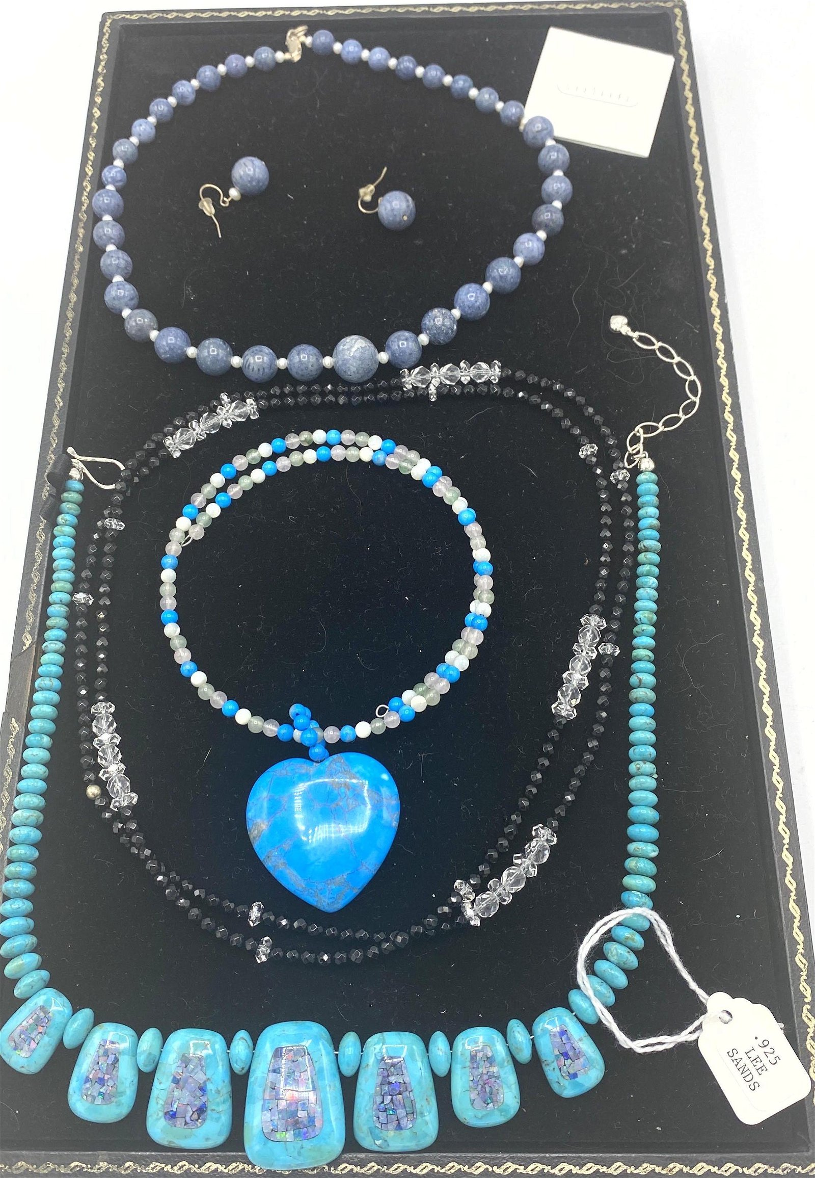 5pc Bead Necklaces. LEE SANDS. Bead necklace with match