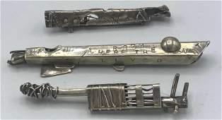 3pcs Silver Modernist Artisan Brooch Pins Bar Pins Br