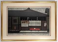 KIYOSHI SAITO Modernist Japanese Woodblock Print Tea H