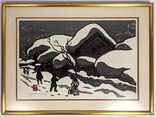 KIYOSHI SAITO Modernist Japanese Woodblock Print Winte