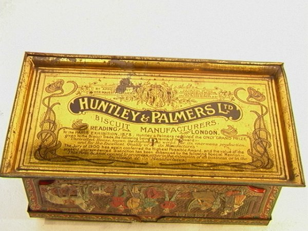 1: HUNTLEY and PALMERS Ltd Biscuit tin Antique Vintage  - 6