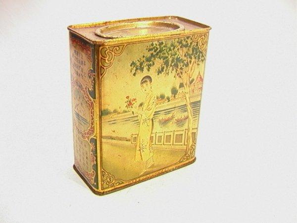 2: Antique Oriental Tea Tin with Oriental Scene.   Dime