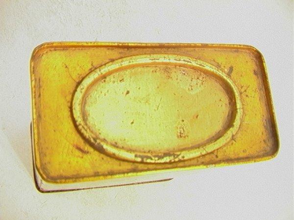 2: Antique Oriental Tea Tin with Oriental Scene.   Dime - 3