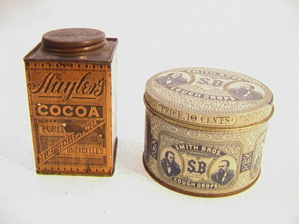 3: 2 Tins: SMITH BROS cough Drops and HUYLERS Cocoa Tin