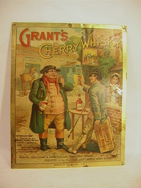 5: GRANTS CHERRY WHISKY Antique Tin Sign Color Graphics