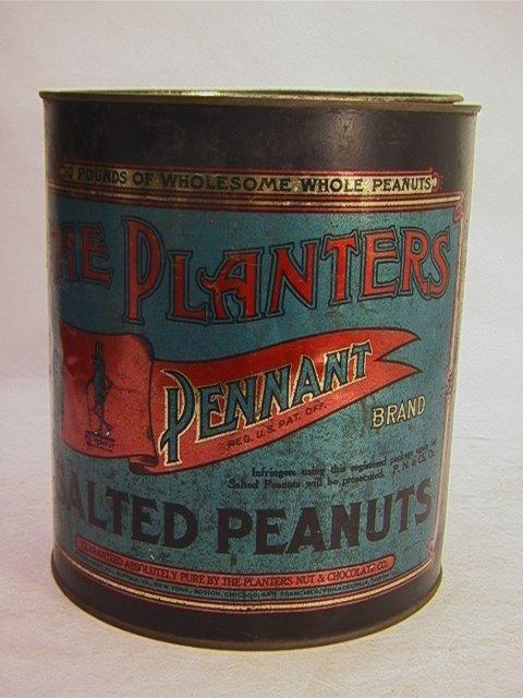 6: Large Antique PLANTERS Pennant Salted Peanut Tin   D