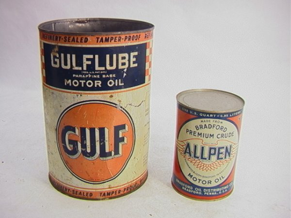 8: 2 Oil Tin Cans ALLPEN Qt and GULFLUBE one gallon.