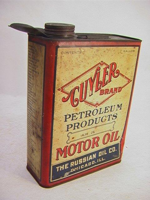 9: CUYLER Oil Tin Can Valve Oil Russian Oil Co.   Dimen
