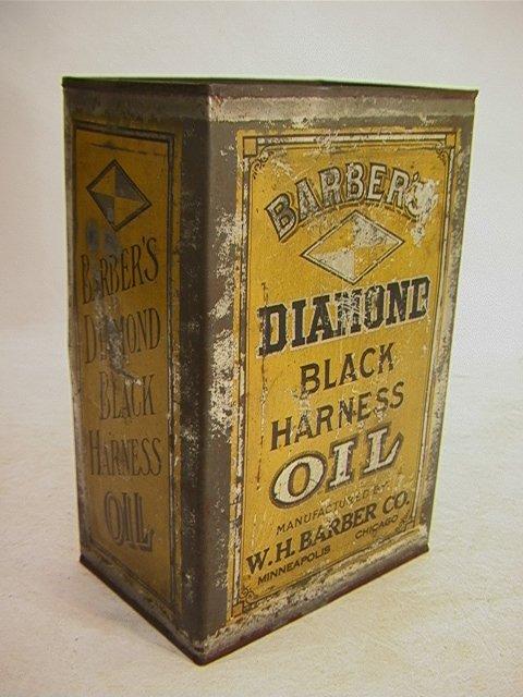 11: DIAMOND BLACK HARNESS OIL Barbers Oil tin Can.   Di
