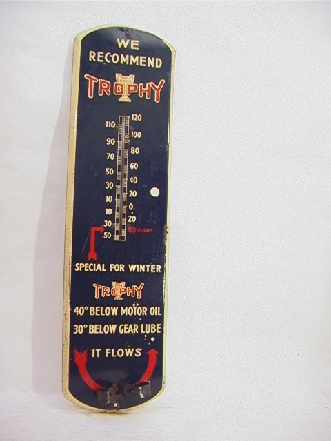 13: TROPHY Oil Porcelain Thermometer    Dimensions:  H: