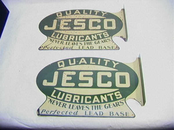 16: TWO Quality JESCO Motor Oil Signs Vintage.   Dimens
