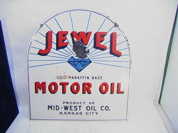 20: JEWEL motor oil Porcelain on Metal Antique sign.