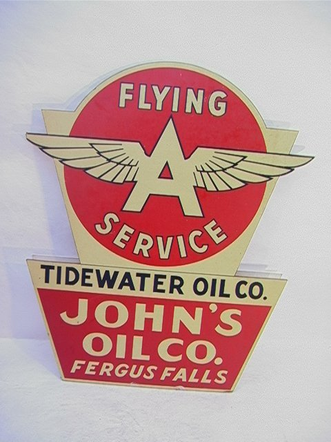 22: FLYING A Service Metal Sign on Masonite.   Dimensio