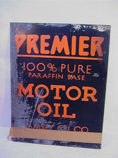23: PREMIER Motor Oil Sign Enamel on Metal.   Dimension