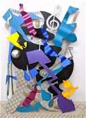 "Large STEVE ZALUSKI 1997 ""Having Fun"" Colorful Wall Scu"