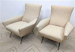 Pair GIO PONTI Style Italian Modern Lounge Chairs. Angl