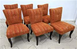 Set 6 Decorator Dining Chairs with Ebonized Legs