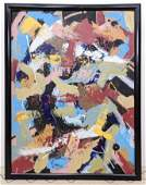 Large Modernist Oil Painting on Canvas.  Abstract moder