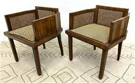 Pair French Deco Low Back Arm Chairs Angled wood Frame