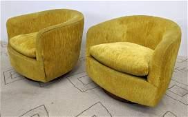 Pair MILO BAUGHMAN Swivel Lounge Chairs. Swivel and Ro