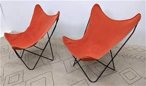 Pair Knoll Hardoy Attributed Butterfly Chairs. Iron and