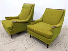 2pcs American Modern Lounge Chairs with exposed wood ha