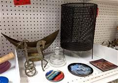 Weinberg style chariot, mesh waste basket, metal bowl,