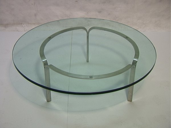 304: Modernist Stainless Steel Cocktail Coffee Table wi