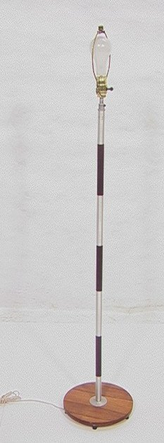 305: Phil Powell Style Brush Aluminum Wood Floor Lamp.