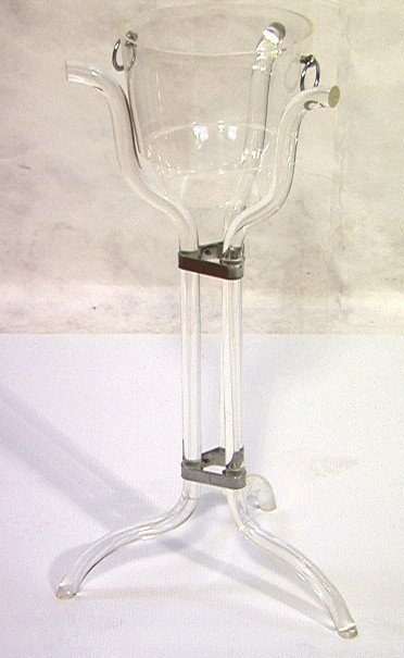 306: Modern Lucite Champagne Bucket on Stand.  Tripod f