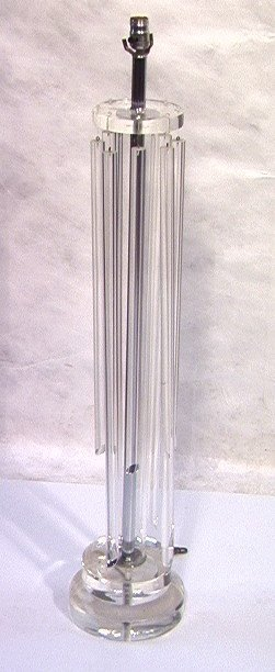 307: 70s Modern Lucite Floor Lamp with Hanging Lucite R