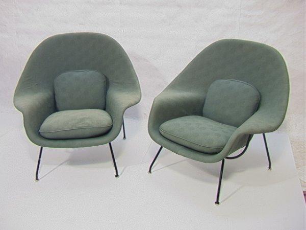 308: Pr Eero Saarinen Knoll Womb Chairs.  Seafoam uphol
