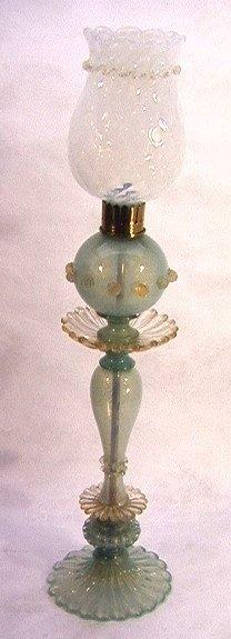 311: Rare Barovier Murano Glass Table Lamp.  Gold fleck