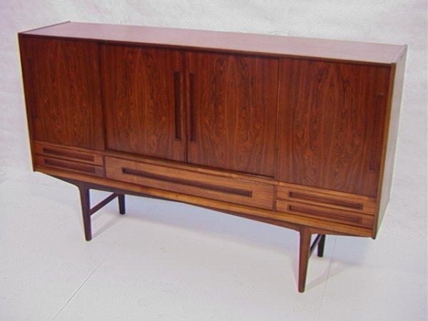 314: Large Danish Rosewood Bar Cabinet with Sliding Doo