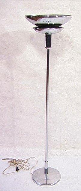 315: Art Deco Chrome Floor Lamp with Reeded Stem.   Dim