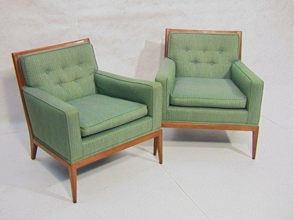 323: Pr Paul McCobb Lounge Club Chairs.  Walnut Frames