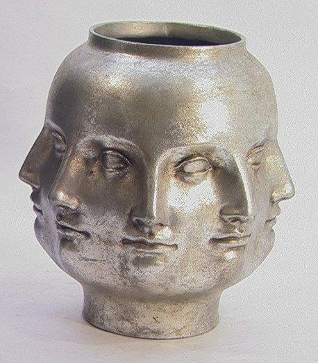514: PIERO FORNASETTI Style Multi Face Vase Silver Leaf