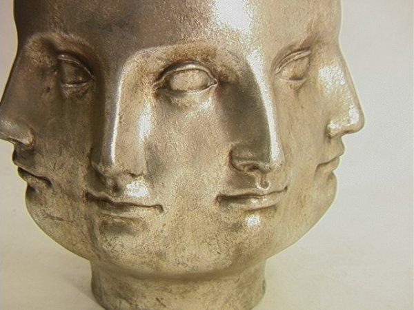 514: PIERO FORNASETTI Style Multi Face Vase Silver Leaf - 4